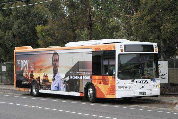 PTV liveried Transit Systems bus #129 BS00BT between runs on Hampshire Road, Sunshine
