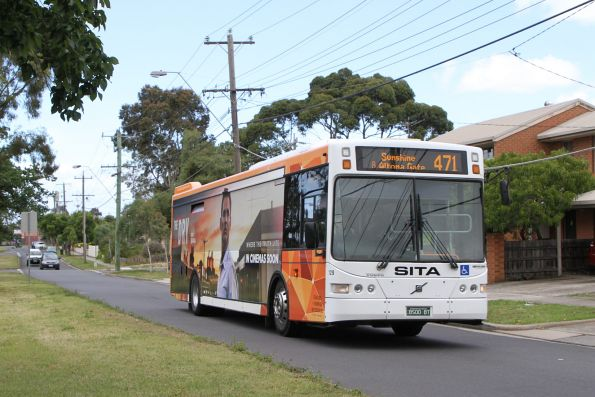 Transit Systems bus #129 BS00BT on route 471 along Fairbairn Road, Sunshine West
