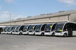All ten Optare Solo buses lined up in the Transit Systems depot at West Footscray
