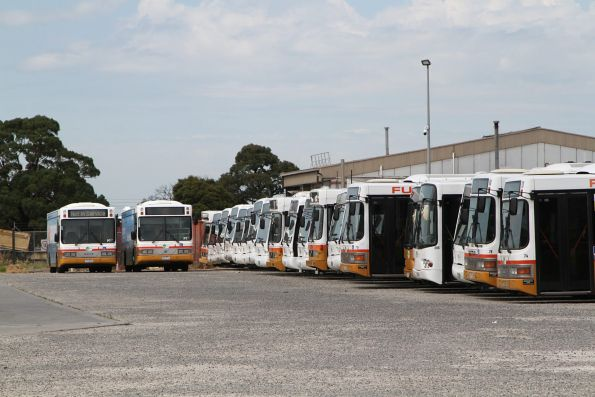 Ten ex-Brisbane Austral Pacific 'Orana' buses among the Transit Systems rail fleet at their West Footscray depot