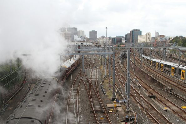 Steam everywhere as 3642 departs Central on another shuttle trip