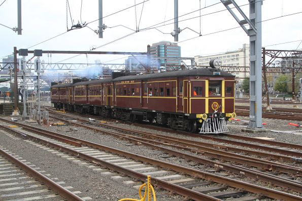 CPH railmotor #25 leads #24 and #12 out of Central on another goods line tour