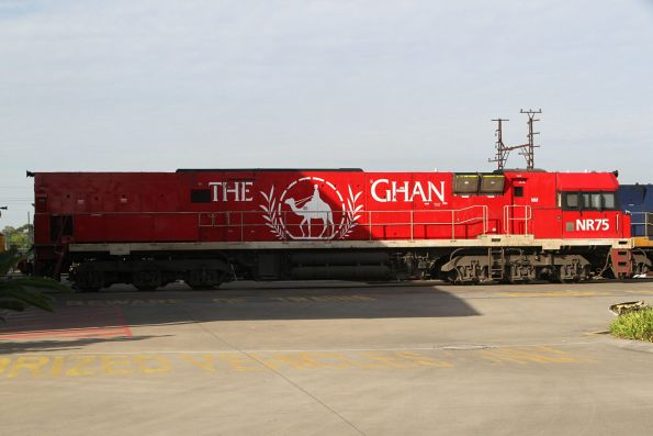 Ghan liveried NR75 at the UGL facility in Spotswood