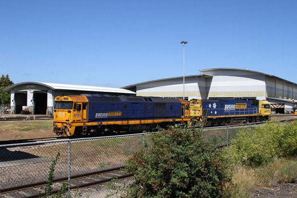 8115 and NR77 outside the shed at Spotswood