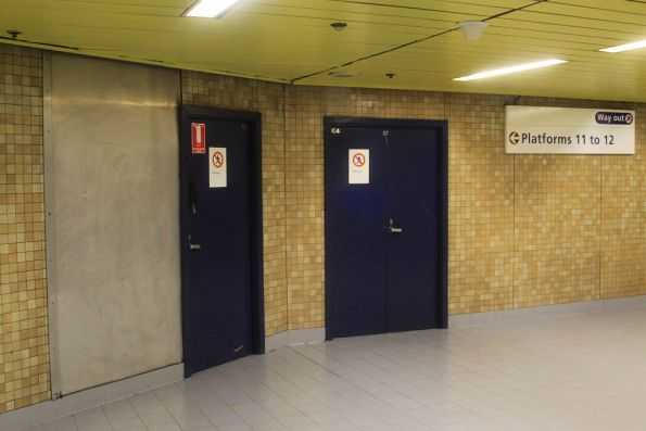 Doors into the unfinished platforms at Redfern