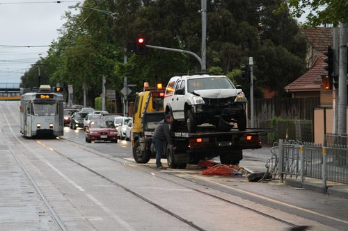 Another week, another car ploughs through the tram stop fence