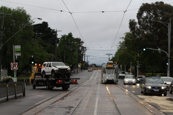 The scene cleared, a citybound tram ready to move