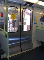 Inside view of an X'Trapolis with faulty door tagged out of use