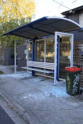 Smashed glass bus stop in Ascot Vale