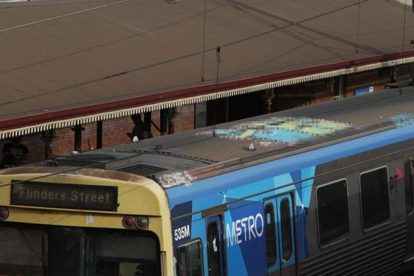 Vandals are even muralling the roof of trains now
