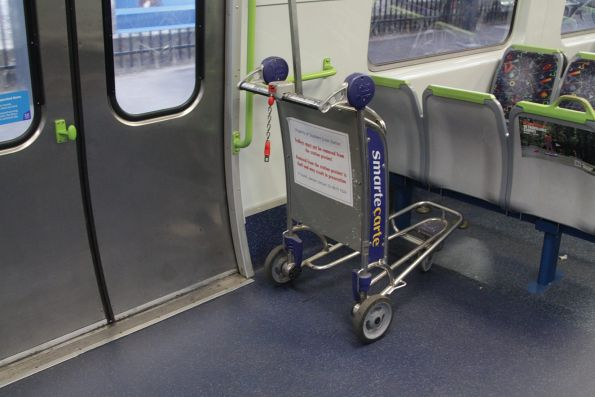 Long way from home - Southern Cross Station luggage trolley dumped onboard a suburban train