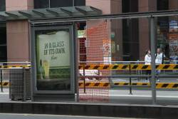 A week later, and the glass panel this CBD tram stop shelter is still missing