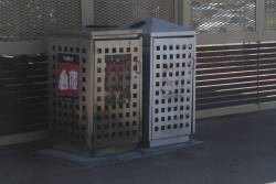 Burnt out rubbish bin at Deer Park station