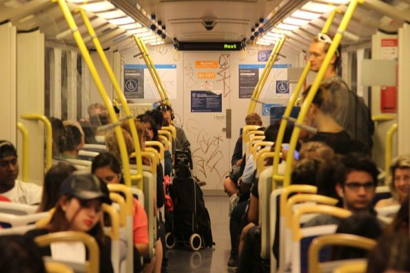 Inside a graffiti covered Siemens train
