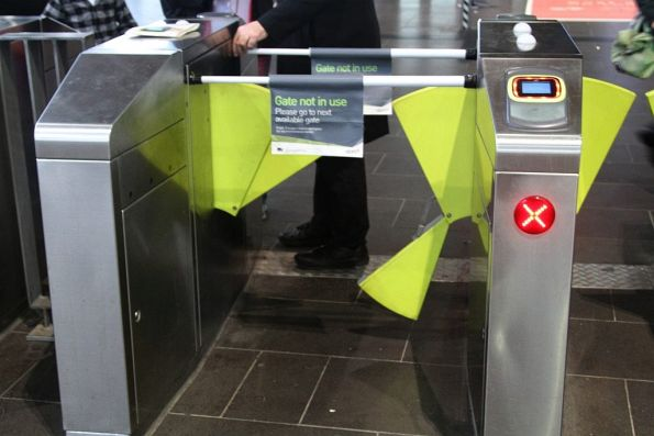 Damaged set of myki gates at Southern Cross Station