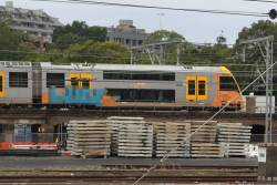 Graffiti mural on the side of a Waratah train at Sydney Central