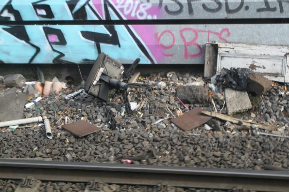 Office chair lays abandoned at the bottom of the Footscray railway cutting