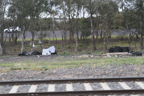 Rubbish dumped beside the tracks at Hoppers Crossing