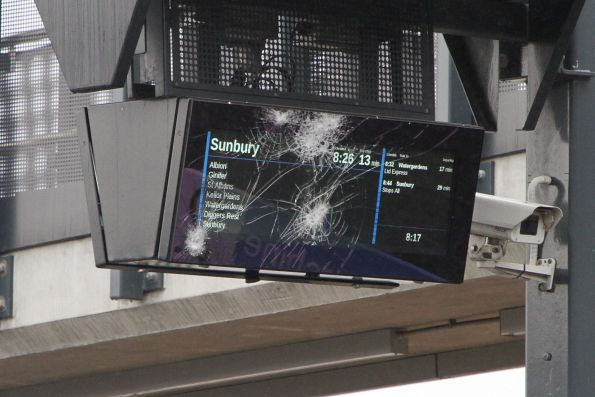 LCD next train display at Sunshine with a smashed glass face