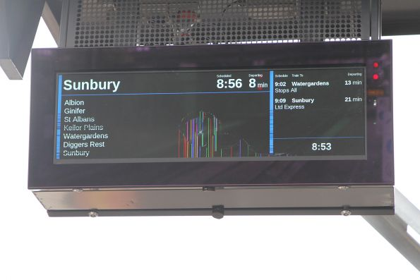 Damaged LCD next train display at Sunshine, after the glass face was smashed