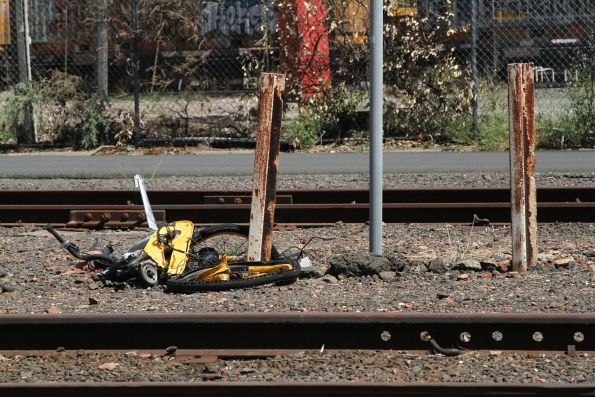 O Bike after being run over by a train