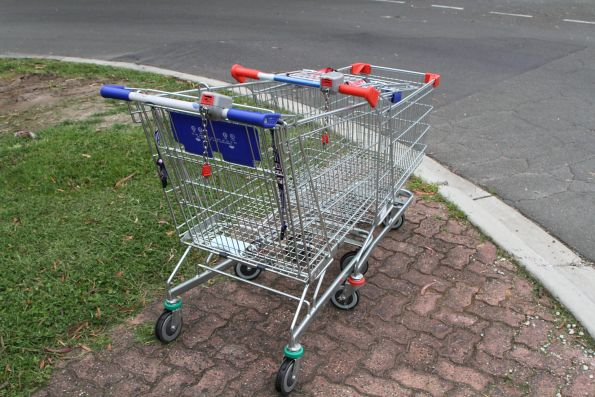 Shopping trolleys dumped in the Belgrave station car park