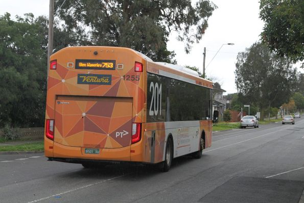 Ventura #1255 BS01XU in route 201 livery on a route 753 service in Glen Waverley