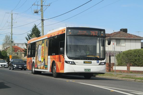 Ventura bus #1046 BS00HP northbound on route 767 along Poath Road, Hughesdale