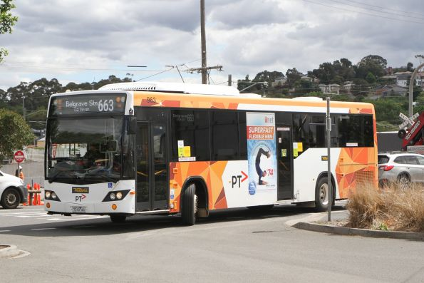 Ventura bus #963 7310AO on route 663 arrives at Lilydale station