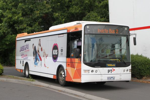 Ventura bus #654 8140AO departs Lilydale station on school run 'Invicta Bus 2'