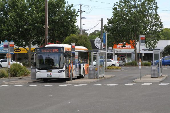 Ventura bus #1056 BS00SH on route 670 at Lilydale station