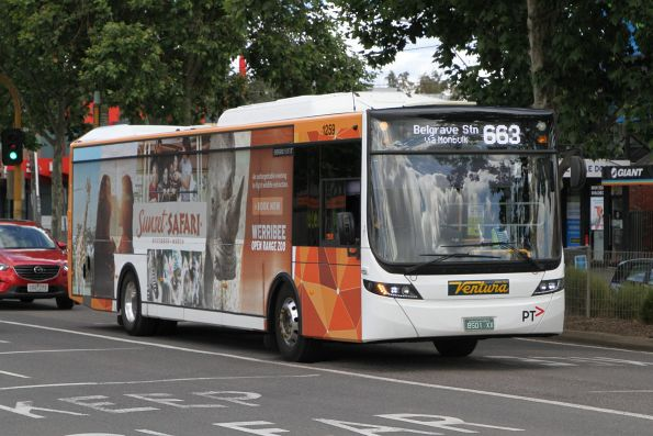 Ventura bus #1059 BS01XX arrives at Lilydale station on route 663