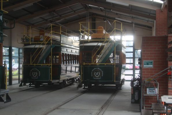 Three of the four tramcars stabled in the shed