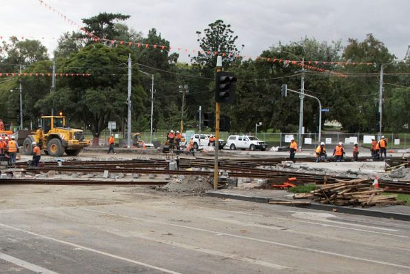 South to east curves at Victoria and Nicholson Streets being relaid