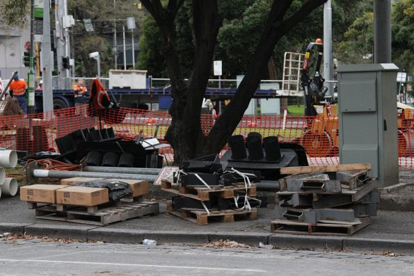 Removed bits of traffic lights stored near the worksite at Victoria and Nicholson Street