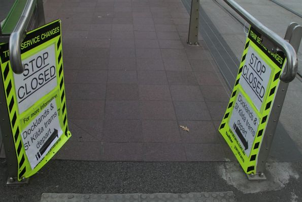 'Stop Closed' signs still in place at Nicholson and Albert Streets, after the weekend trackwork