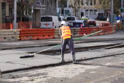 Screeding the fresh concrete at the Victoria Street crossover