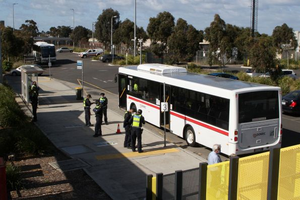 Protective Services Officers at Sunshine station, checking the credentials of passengers intending to board the 'Authorised Worker Shuttle' bus to the CBD.