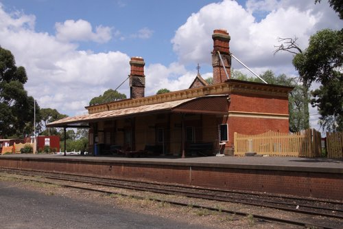 Burnt out station building at Maldon propped up until rebuilding can start