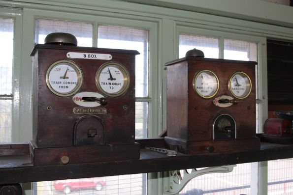 Decommissioned double line block instruments at Castlemaine 'A' signal box