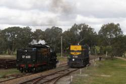 With D3 639 cut off the front and sitting in the loop, Y133 departs Muckleford for Castlemaine