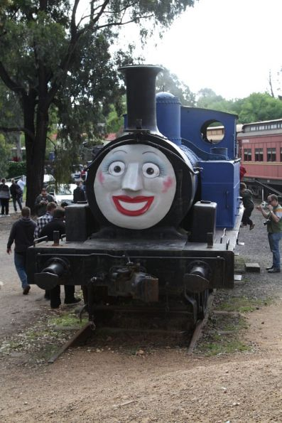 'Thomas the Cross Dressing Tank Engine' face on E371 at Maldon station