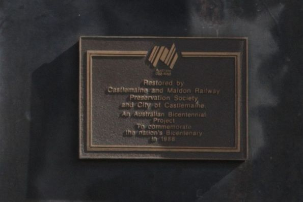 Australian Bicentennial Project plaque on the side of J549