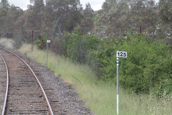 Castlemaine is 125km from Melbourne via the mainline, but the branch to Maryborough measured from the platform