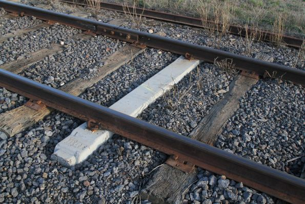 Concrete timber replacement sleepers in the mainline at Muckleford