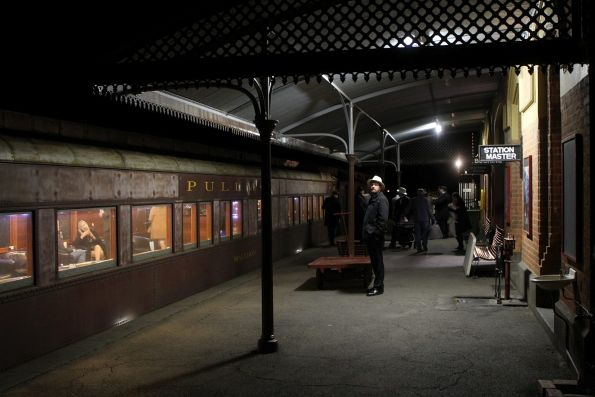 Night time arrival back at Maldon station