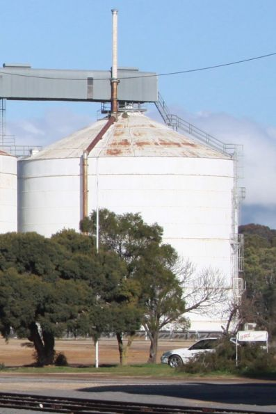 One of four steel silos on the western side of the railway at Dunolly