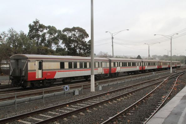 Carriage set SH23 stabled in the yard at Bacchus Marsh station