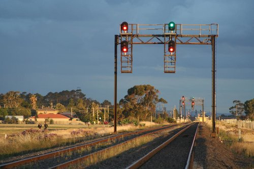 Signals and darkened skies at Deer Park