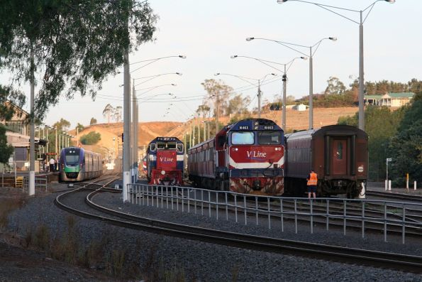 N set, N463 and P class in Bacchus Marsh yard with VLocity in the platform at Bacchus Marsh